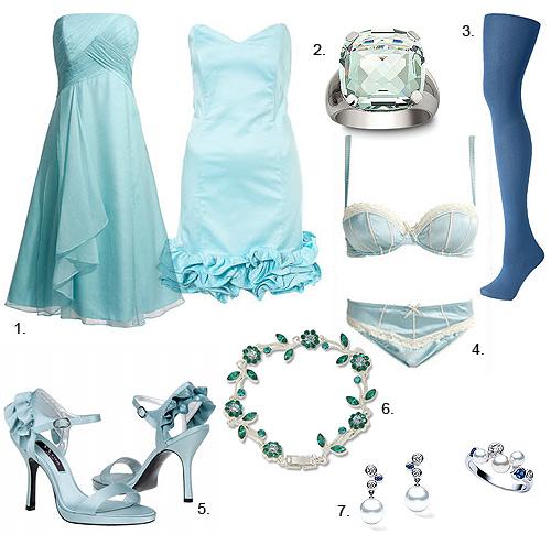 Pendientes para vestido azul claro