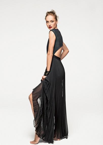 Vestido mango negro tul